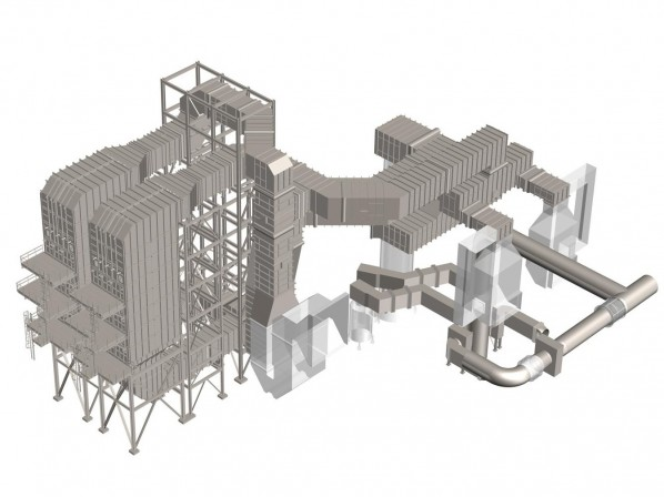 3D model of Oil Refinery Balance of Plant Ductwork and SCR Reactors in Baytown, Texas